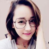 現貨-韓國ulzzang複古元素古著金屬方框眼鏡新款金屬眼鏡框潮流男女式方框眼鏡架可配近視平光鏡