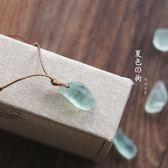 項鍊夏色原創手作簡約天然綠螢石鎖骨鍊閨蜜男女情侶禮物配飾石頭項鍊            多莉絲旗艦店