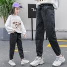 女童牛仔褲春秋外穿寬鬆2021新款洋氣韓版時尚兒童褲子長褲中大童 韓語空間