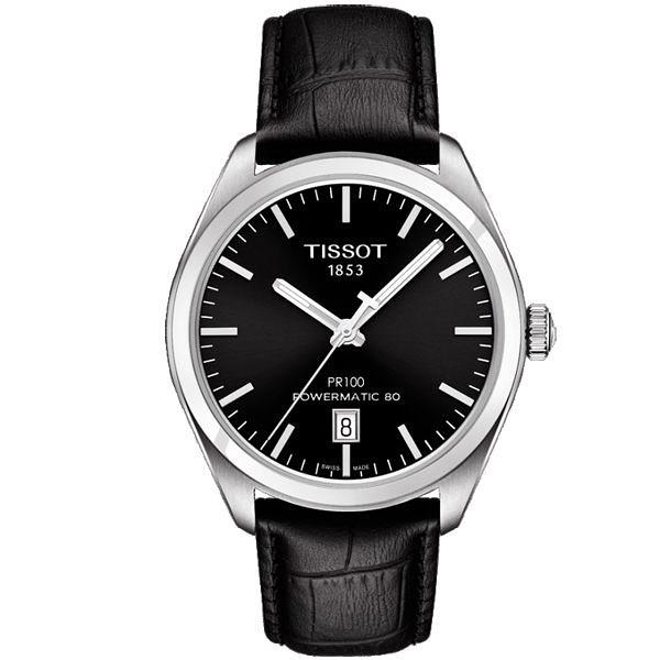 ◆TISSOT◆ PR100系列 簡約動力Powermatic 80機械皮帶腕錶T101.407.16.051.00 黑面