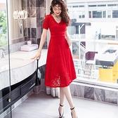 嫵媚V領顯瘦腰身宴會謝師宴黑色大紅洋裝[18069-QF]小三衣藏