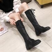 系帶長靴綁帶女靴子新款秋冬長筒過膝高筒網紅皮靴馬靴騎士靴   蘑菇街小屋
