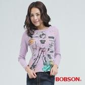 BOBSON 印圖個性女郎T恤(紫色65074-61)
