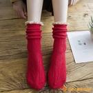 襪子女中筒堆堆襪粗線純棉秋冬金絲蕾絲花邊襪【小獅子】