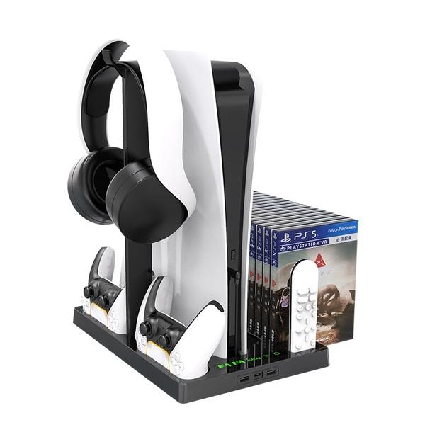 【現貨】KJH PS5主機支架 散熱風扇底座支架雙手柄座充光碟收納掛架
