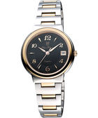 Olympianus 奧柏 時尚雅典女錶-黑/雙色版 5686MSR-黑/半金