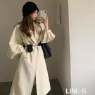 杏色西裝領風衣女秋季2020新款寬松韓版泡泡袖中長款氣質大衣外套