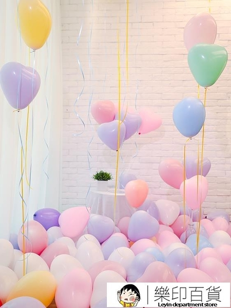 婚禮裝飾ins婚房布置馬卡龍色氣球 兒童多款可愛空飄氣球網紅用品 樂印百貨