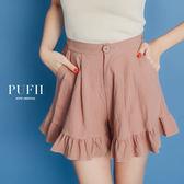(現貨-黑/粉/白)PUFII-短褲 單扣後鬆緊棉麻荷葉短褲 4色-0426 現+預 春【ZP14497】