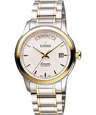 TITONI Airmaster 紳士時尚Day-Date機械腕錶-銀x雙色版/39mm 93933SY-332