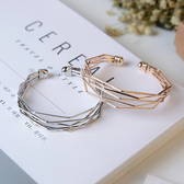 手環-歐美時尚流行飾品金屬簡約幾何多層次氣質百搭開口手鐲手環女配飾 花間公主