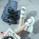 鬆糕鞋女新款厚底涼鞋高跟百搭學生一字扣坡跟羅馬鞋  全店88折特惠