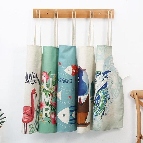日式親子棉麻圍裙可愛兒童成人廚房防油圍腰餐廳工作服