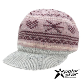 【PolarStar】女 星心保暖馬球帽『粉紅』P19601 羊毛帽 毛球帽 針織帽 毛帽 毛線帽 帽子