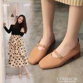春夏新款韓版百搭方頭瑪麗珍單鞋粗跟復古奶奶鞋平底豆豆鞋女-ifashion
