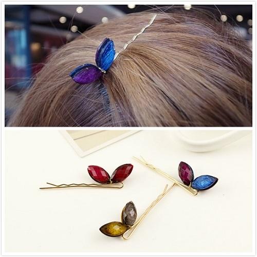 【NiNi Me】韓系髮飾 可愛兔耳朵蝴蝶結寶石一字夾髮夾 髮夾 H9330