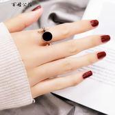 個性鍍18k玫瑰金戒指女款黑色食指環