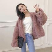 羊羔毛外套 秋冬純色韓國chic氣質長袖開衫毛絨短款外套