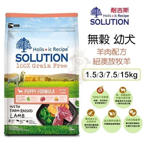 *WANG*新耐吉斯SOLUTION《超級無穀犬-幼犬 羊肉配方》1.5公斤 狗飼料