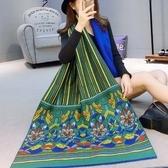 羊毛絨長披肩-古典風格花朵圖案女圍巾73hy54【時尚巴黎】