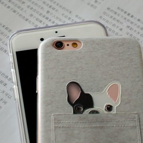🍏 iPhoneXs/XR 蘋果手機殼 可掛繩 可愛口袋法鬥狗狗 浮雕軟殼 i8/i7/i6Plus/i5
