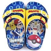 童鞋城堡-神奇寶貝(寶可夢) 中童 不對稱軟木風格拖鞋PA1712-藍