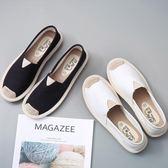懶人鞋樂福鞋 一腳蹬懶人鞋百搭帆布鞋小白鞋平底漁夫鞋 巴黎春天