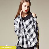 【SHOWCASE】假二件式斜肩格紋寬版襯衫(黑)