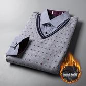 加絨刷毛加厚保暖針織衫假兩件長袖襯衫領尾貨剪標厚款打底 雙十二8折