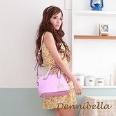 【南紡購物中心】【Dennibella 丹妮貝拉】真皮斜背波士頓包-紫
