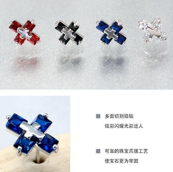 韓版個性時尚925銀男土耳釘 情侶十字架單只 女耳飾耳環