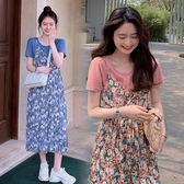 漂亮小媽咪 韓系女神碎花洋裝 【DS9357】 兩件式 吊帶裙 長裙 雪紡 長洋裝 孕婦裝 洋裝 連身裙