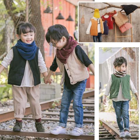 文藝風雙口袋羽絨棉背心 中性款 夾克 外套 橘魔法Baby magic 現貨 兒童 童裝 女童 男童 兒童薄外套