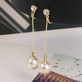 【NiNi Me】夾式耳環 氣質優雅單顆水鑽長款珍珠夾式耳環 夾式耳環 E0030