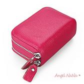 真皮卡包-頭層牛皮雙拉鏈大容量風琴卡片包皮夾零錢包硬幣包男夾女夾 Angelnana (SMA0211)