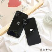 簡約黑色玻璃愛心蘋果情侶手機殼【聚寶屋】