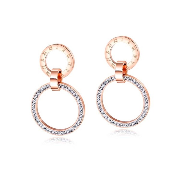 【5折超值價】時尚精美羅馬數字雙環鑽造型女款鈦鋼耳環