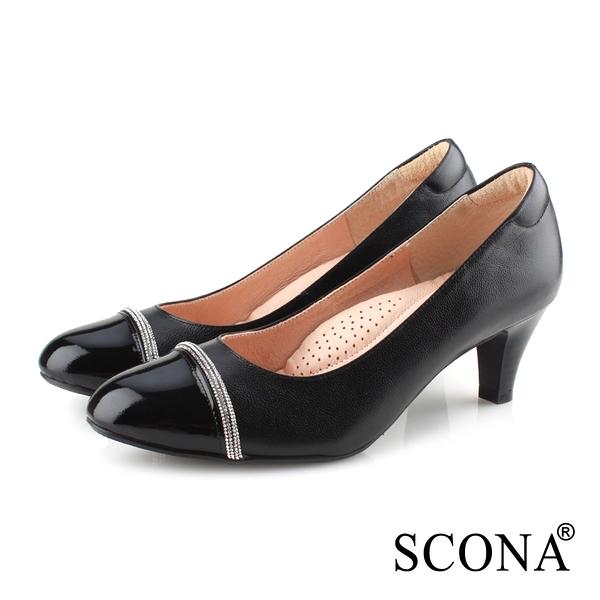 SCONA 蘇格南 全真皮 簡約優雅舒適高跟鞋 黑色 31089-1