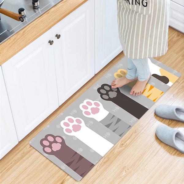廚房/臥室/地墊/頂級PVC皮防水防滑皮革地墊45X150CM/萌貓掌(灰)【半島良品】