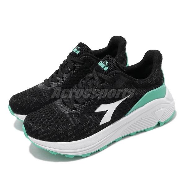 DIADORA 慢跑鞋 黑 綠 女鞋 Wide 寬楦頭 基本款 運動鞋 【ACS】 DA31603