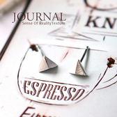 925 純銀 極簡氣勢金字塔磨砂三角針式耳環_ 質物日誌Journal