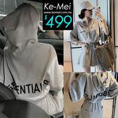 克妹Ke-Mei【ZT53806】歐美妞時尚感背後字母腰綁帶連帽工作褲裝