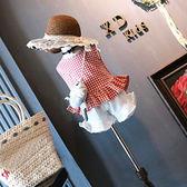 甜美格紋花瓣背心 女童裝兩件式 上衣+褲子(90-130)【巴布百貨】
