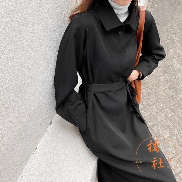長袖連身裙秋冬寬鬆休閒長裙收腰顯瘦氣質裙子【橘社小鎮】