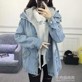 牛仔外套春秋季女韓版學生大碼上衣寬鬆胖mm原宿bf兩件套『小宅妮時尚』