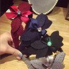 韓國多層葉子蝴蝶結鑲鑽髮箍...