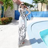 波西米亞冰絲裙 V領吊帶長裙 印花連身裙 海邊度假沙灘裙