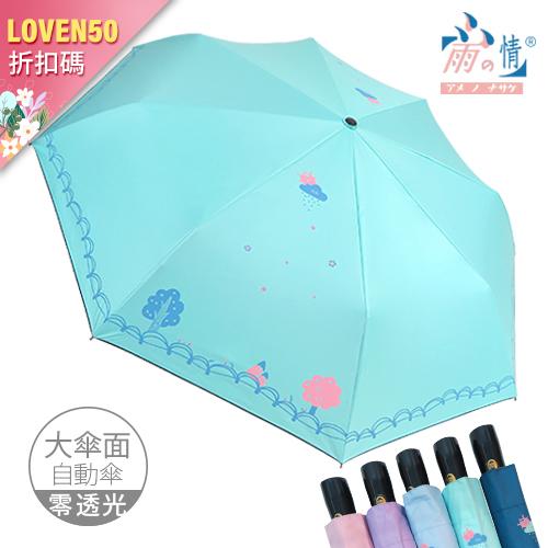 新品折價券【雨之情】防曬彩布膠自動傘鄉村 大傘面 5色