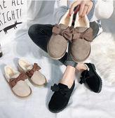 平底鞋豆豆鞋女正韓棉鞋女冬加絨網紅毛毛鞋外穿平底瓢鞋子 米蘭潮鞋館