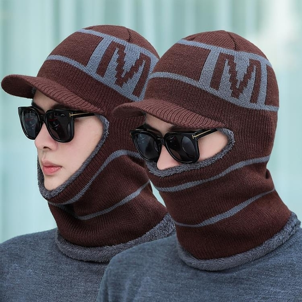 毛帽針織帽帽子男蒙臉冬天毛線帽圍脖一體加絨保暖騎車護耳帽青年針織連體帽